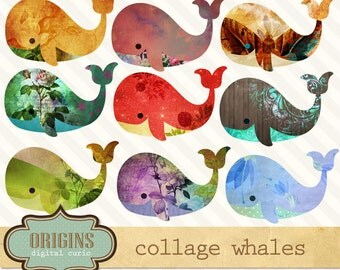 Collage Whale Clipart - Vintage texture whale clip art, digital scrapbook embellishments png commercial use instant download