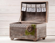 Wedding Card Box Rustic Card Holder with Burlap and Lace Cards Banner Rustic Wedding Gift  Wooden Chest Shabby Chic Flowers Wedding Sign