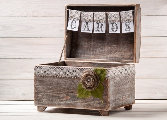 Rustic Wedding Gift Card Box : Wedding Card Box Rustic Card Holder with Burlap and Lace Cards Banner ...