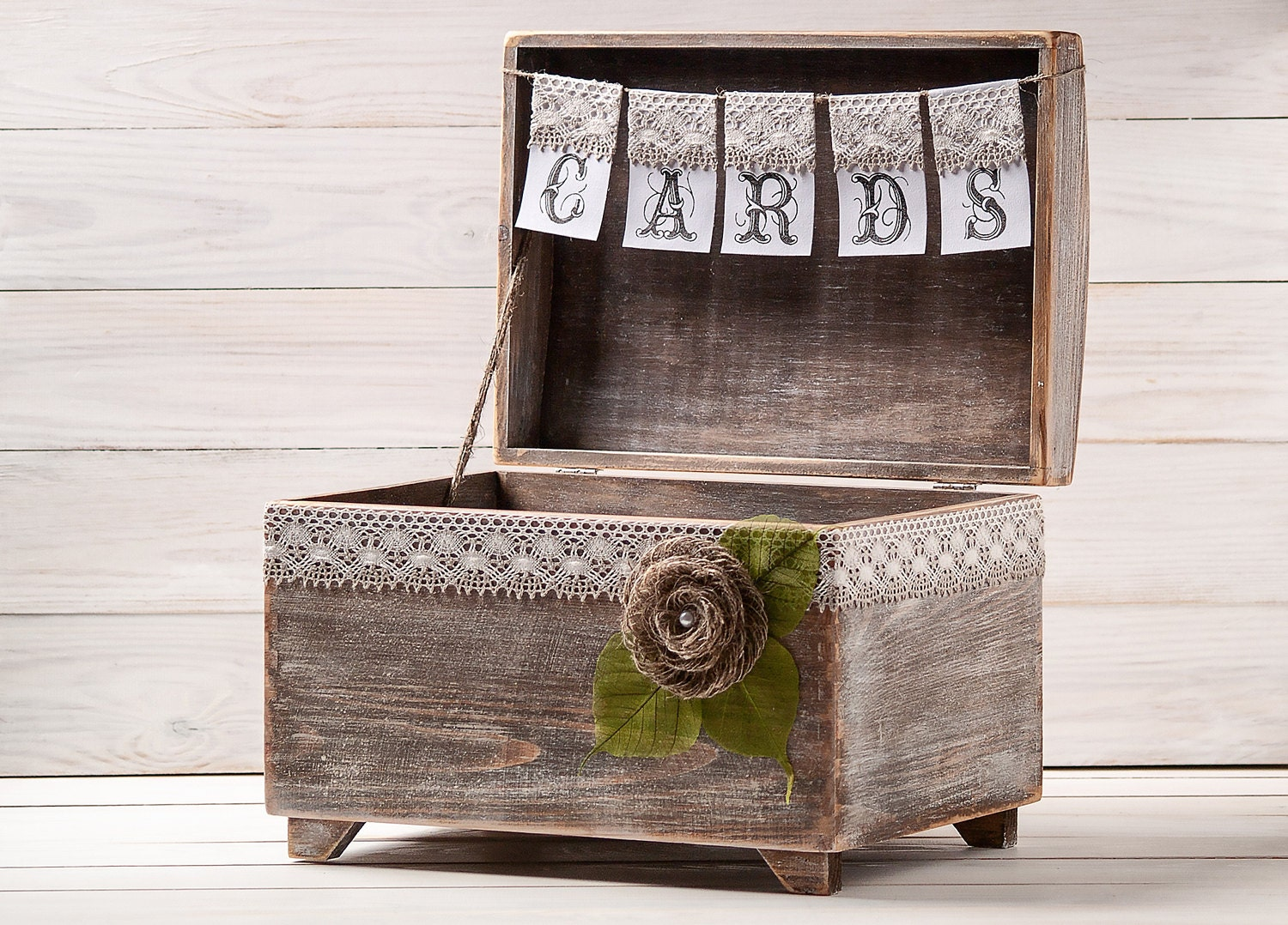 Wedding Gift Card Box Holder: Wedding Card Box Rustic Card Holder With Burlap And Lace Cards