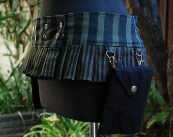 Black & Olive Green Stripe Ruffle Utilty Belt with 2 Pouches, Mini Skirt Style Belt, Reversible to Black, Custom Made for Women