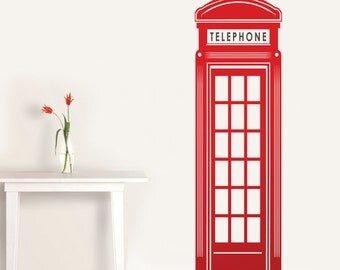 Wall Vinyl Decal English Red Telephone Booth