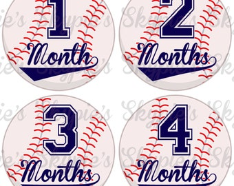 INSTANT DOWNLOAD DIY Monthly Stickers for Baby Monthly Milestone Stickers Month Stickers Baby Shower Gift - Baseball 001