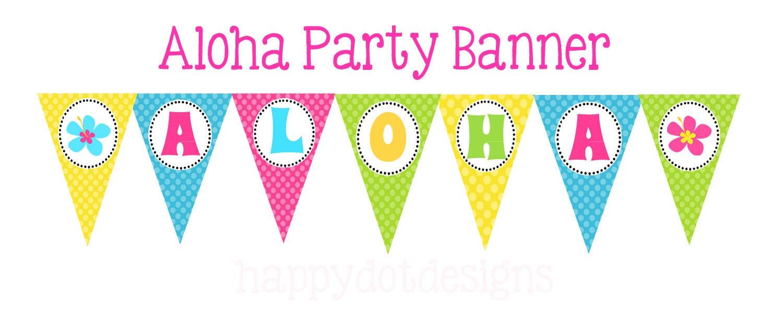printable aloha hawaiian party pennant banner. Black Bedroom Furniture Sets. Home Design Ideas