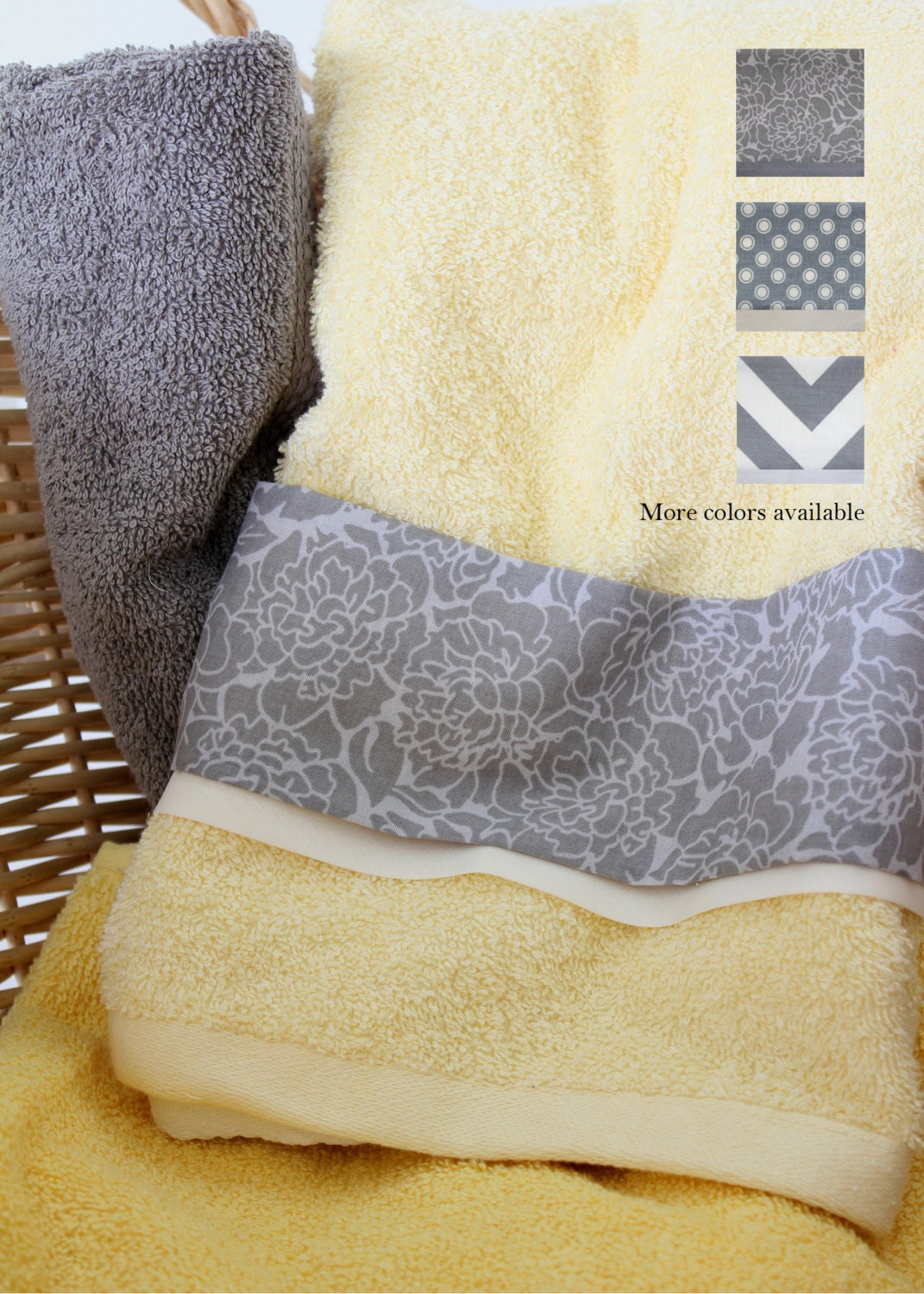 butter yellow gray bath hand towel you by southernspringco. Black Bedroom Furniture Sets. Home Design Ideas
