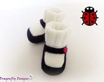Baby Shoes, Mary Jane Booties, Hand Knit Booties, Baby Girl Shoes,Ladybird Booties, Baby Booties