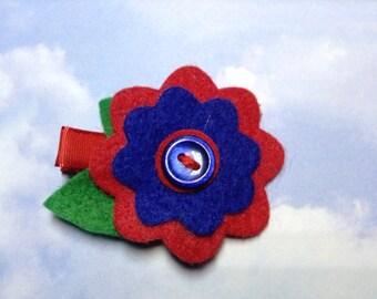 Blue and Red Felt Flower Hair Clip