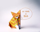 Talking paper cat with customizable speech bubble. PDF DIY - Instant download