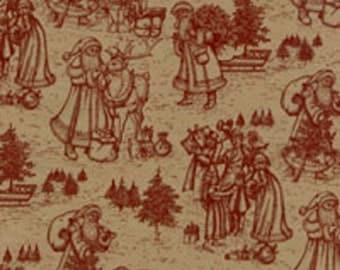 Burgundy St. Nick Christmas Toile on Kraft Tan Tissue Paper #801 - Christmas