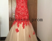 Long prom dress 2014 -Lace prom dress / Lace evening dress /Tulle evening gown long party dress / Tulle formal dress / backless prom dress
