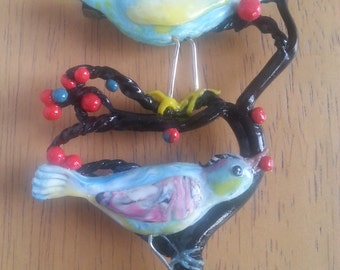 Birds on Tree Brooch