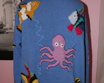 BEAUTIFULLY Detailed Vintage Aquatic Grandma Sweater