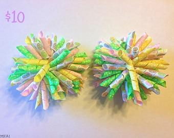 "4"" Pom-Pom Easter Bow / Barrettes"