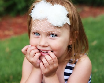 Ivory Newborn Veil Headband,Baptism Veil Headband,Ivory,White Baby Headband, First Communion Veil Headband, Flower Girl Veil Headband