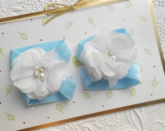 White flower Baby Barefoot Sandals ,Chiffon Flowers with blue Elastic , Toddler Sandals ,Newborn Sandals ,Baby Flower Sandals