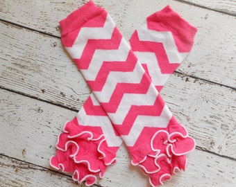 Hot Pink/ White Chevron Leg Warmers with Ruffles, Leg Warmer, Girl Leggins, Wholesale Leg Warmers, One Size Leg Warmers
