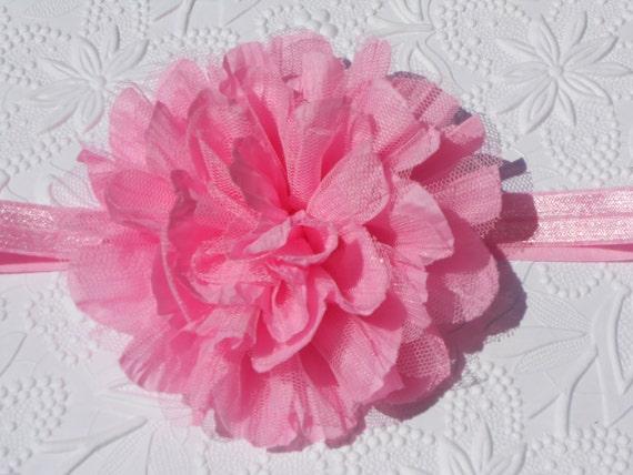 Pink Frayed Lace Chiffon flower Baby Headband, Newborn Headband,  Infant Headband,Baby Headband, Headband Baby, Baby Headband