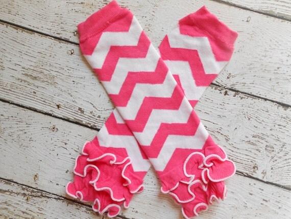 Hot Pink/ White Chevron Leg Warmers with Ruffles, Leg Warmer, Girl Leggins, Wholesale Leg Warmers, One Size Leg Warmers