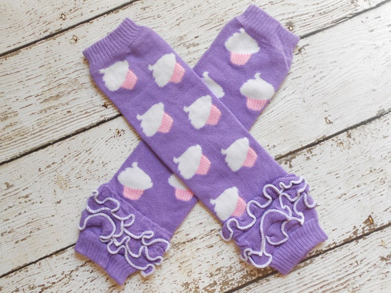 Violet/ Cup cake  Leg Warmers with Ruffles, Leg Warmer, Girl Leggins, Wholesale Leg Warmers, One Size Leg Warmers