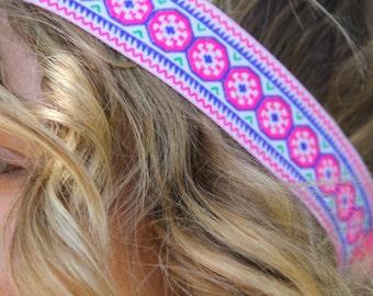 Boho Headband, pink and blue