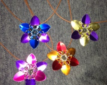 Scale Maille flower pendant, on cord with fastener