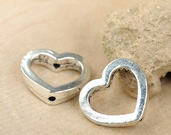 20 pcs 13x13mm (inside for 6mm beads) antique silver hollow love hearts connectors links charms pendants