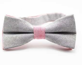 Bow Tie for Men.Light Grey  Bow Tie with Pink Strap.Wedding Bow Tie.Prom Bow Tie