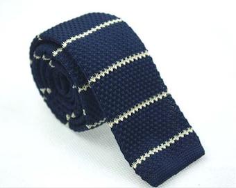 Knit Ties.Navy Casual Ties With White Stripes.Wedding Ties.Neckties For Men.Skinny Knit Ties.