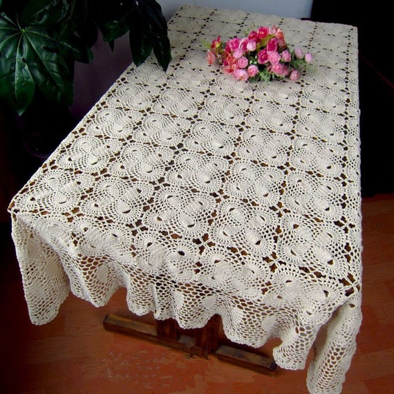 Free Crochet Oblong Tablecloth Patterns : 100% handmade table cover Crochet pattern by LynnLakeWorkshop
