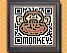 588 Monkey Asian zodiac animal as QR code Whimsical animal print for kids room animal theme monkey Year of the monkey 9x9 Asian wall decor