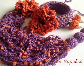 """Crochet jewelry set """"Сontrast""""/ Crochet necklace/ Crochet earrings/ Crochet bracelet/ Purple orang crochet necklace/ Beaded crochet necklace"""