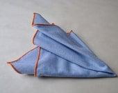 Handmade Light Blue Chambray with Orange Stitching Pocket Square Handkerchief