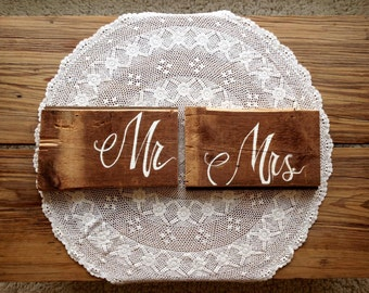 "Boho Wedding ""Mr. + Mrs"". Sign, Reclaimed wood, Calligraphy"
