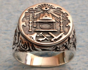 Masonic Ring Lodge Accent Sterling Silver 925 / Handmade - ALL SIZES !