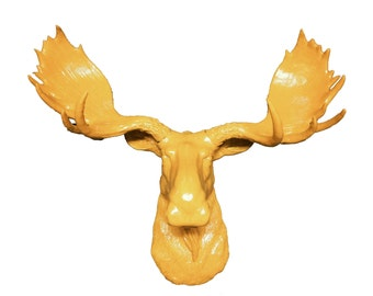 Yellow Moose Head Mount Wall Statue. Faux Taxidermy Fake Moose Head.