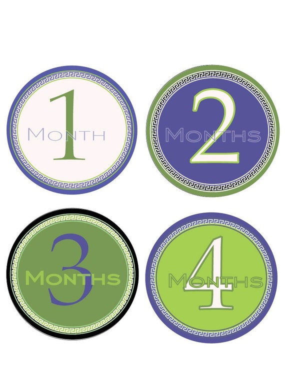 18 Month Stickers: INSTANT DOWNLOAD Baby Monthly Stickers Baby By WeefersDesigns