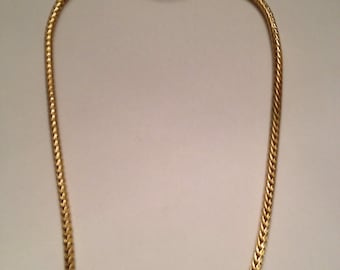 Vintage Braided Gold Necklace Costume Jewelry