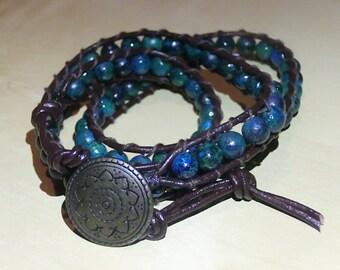 Sapphire Australian Jasper Leather Wrap Bracelet