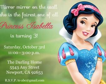 Snow White Invitation, Disney Princess, Kid's Birthday Party Invite, Birthday Invitation