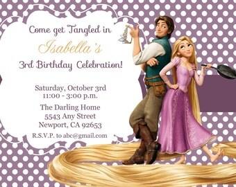 Tangled Invitation, Rapunzel Invitation, Disney Princess, Kid's Birthday Party Invite, Birthday Invitation