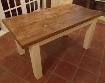 Rustic Solid Wood Plank Kitchen Dining Table - with painted legs 003