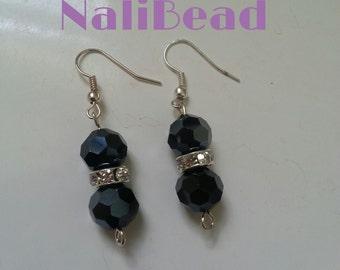 Dark blue beaded earrings with Swarovski crystal spacers.
