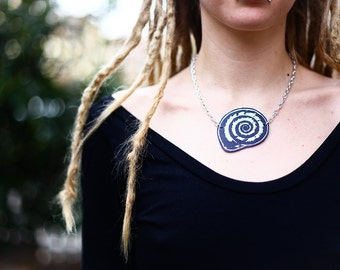 Kotilo - hand-printed leather necklace, fake leather