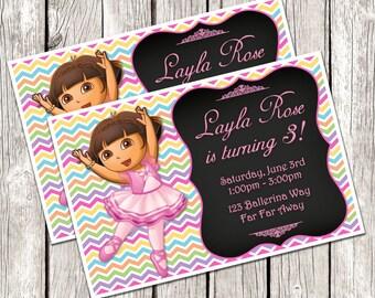 Dora Ballerina Invitation - Dora the Explorer Birthday Party - Chalkboard Invite