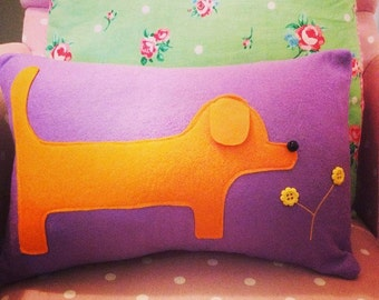 Felt Sausage dog cushion