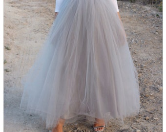 GREY. Long, Maxi, Ankle length, Midi or Knee length grey tulle tutu skirt for women. A blogger favorite & on trend