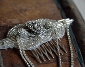 Silver art deco style beaded bridal comb with vintage brooches