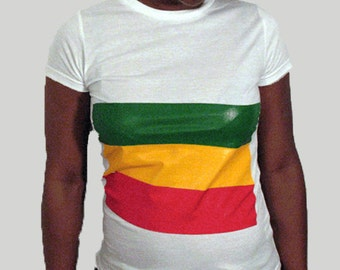 Rasta flag shirt for women, Ethiopia flag, Round neck, Short sleeves, Cotton shirt, Womenz shirt, White shirt