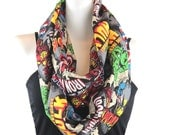 Marvel Comics, Super Heros Print Circle Infinity Scarf