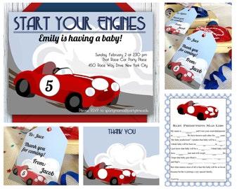 download race car invitation retro race track shower boy baby shower